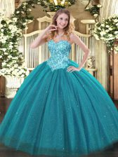 Gorgeous Tulle and Sequined Sweetheart Sleeveless Lace Up Appliques Ball Gown Prom Dress in Teal