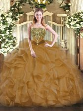 Brown Quinceanera Gowns Military Ball and Sweet 16 and Quinceanera with Beading and Ruffles Strapless Sleeveless Lace Up