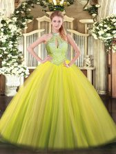 Wonderful Yellow Green Ball Gowns Halter Top Sleeveless Tulle Floor Length Lace Up Sequins Ball Gown Prom Dress