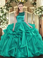 Ball Gowns Sweet 16 Dresses Turquoise Scoop Organza Sleeveless Floor Length Lace Up
