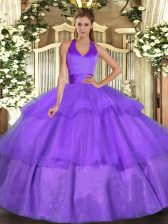 Sexy Lavender Tulle Lace Up Halter Top Sleeveless Floor Length Sweet 16 Dresses Ruffled Layers