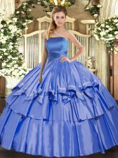 Organza Strapless Sleeveless Lace Up Ruffled Layers Sweet 16 Quinceanera Dress in Blue