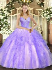Beading and Ruffles Sweet 16 Quinceanera Dress Lavender Lace Up Sleeveless Floor Length