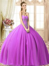 Cute Lilac Tulle Lace Up Sweetheart Sleeveless Floor Length 15th Birthday Dress Beading