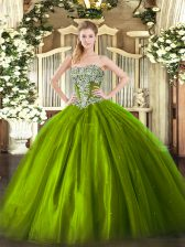 Olive Green Ball Gowns Strapless Sleeveless Tulle Floor Length Lace Up Beading 15th Birthday Dress
