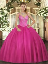 Low Price Fuchsia Ball Gowns V-neck Sleeveless Tulle Floor Length Lace Up Beading Quinceanera Gowns