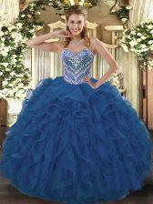 Blue Sleeveless Beading and Ruffled Layers Floor Length Quinceanera Dress