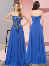 Floor Length Lace Up Evening Dress Blue for Prom and Party with Embroidery