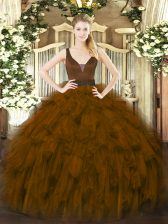 Brown Zipper Quince Ball Gowns Beading and Ruffles Sleeveless Floor Length