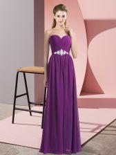 Fashion Sweetheart Sleeveless Lace Up Prom Gown Purple Chiffon