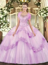 High Class Lilac Tulle Clasp Handle Scoop Sleeveless Floor Length Ball Gown Prom Dress Beading and Appliques