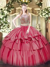 Coral Red Two Pieces Organza and Taffeta Scoop Sleeveless Beading and Ruffled Layers Floor Length Lace Up 15th Birthday Dress