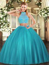 Attractive Floor Length Aqua Blue Sweet 16 Dresses Tulle Sleeveless Beading