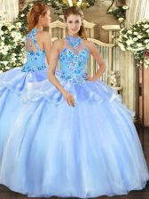 Floor Length Baby Blue Quince Ball Gowns Organza Sleeveless Embroidery