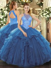 Clearance Blue High-neck Lace Up Beading and Ruffles 15th Birthday Dress Sleeveless