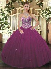 Lovely Sleeveless Lace Up Floor Length Beading Sweet 16 Dress