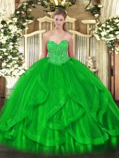 Pretty Floor Length Lace Up Quinceanera Gowns Green for Military Ball and Sweet 16 and Quinceanera with Beading and Ruffles