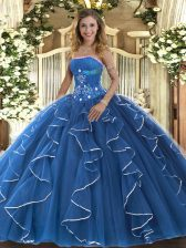Elegant Tulle Strapless Sleeveless Lace Up Beading and Ruffles 15th Birthday Dress in Blue
