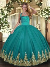 Pretty Sleeveless Lace Up Floor Length Appliques Sweet 16 Dress