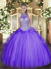 Glorious Lavender Sleeveless Beading and Ruffles Floor Length Vestidos de Quinceanera