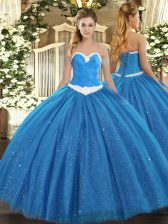 Floor Length Blue 15 Quinceanera Dress Sweetheart Sleeveless Lace Up