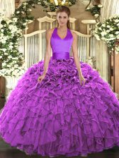 Fuchsia Sweet 16 Quinceanera Dress Military Ball and Sweet 16 and Quinceanera with Ruffles Halter Top Sleeveless Lace Up