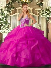 Edgy Sleeveless Beading and Ruffles Lace Up Sweet 16 Dress