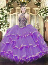 Eggplant Purple Halter Top Lace Up Beading and Ruffles Vestidos de Quinceanera Sleeveless