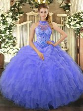 Beading and Embroidery and Ruffles Ball Gown Prom Dress Blue Lace Up Sleeveless Floor Length