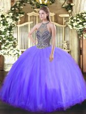Extravagant Lavender Ball Gowns Tulle Halter Top Sleeveless Beading Floor Length Lace Up Sweet 16 Dresses