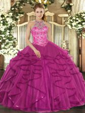 Fancy Floor Length Lace Up Quinceanera Dress Fuchsia for Military Ball and Sweet 16 and Quinceanera with Beading and Ruffles