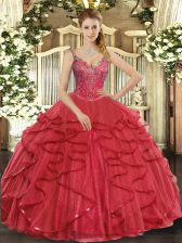 Low Price Tulle Sleeveless Floor Length 15th Birthday Dress and Beading and Ruffles