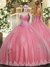 Deluxe Watermelon Red Sweetheart Lace Up Beading and Appliques 15 Quinceanera Dress Sleeveless