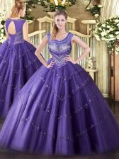 Traditional Floor Length Ball Gowns Sleeveless Purple Quinceanera Dress Lace Up