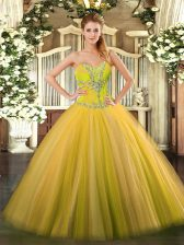 Best Selling Gold Sleeveless Tulle Lace Up Ball Gown Prom Dress for Sweet 16 and Quinceanera
