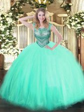 Apple Green Ball Gowns Beading Quinceanera Gown Lace Up Tulle Sleeveless Floor Length