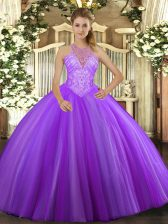 High End Floor Length Lace Up Quinceanera Gown Lavender for Military Ball and Sweet 16 and Quinceanera with Beading