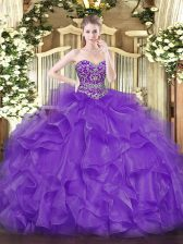 Latest Floor Length Lavender Quince Ball Gowns Organza Sleeveless Beading and Ruffles