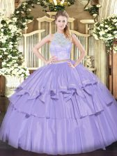 Organza Sleeveless Floor Length Quinceanera Gowns and Lace and Ruffled Layers