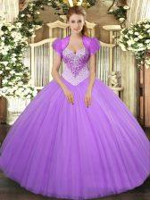 Sweetheart Sleeveless Sweet 16 Dress Floor Length Beading Lavender Tulle