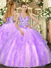 Flare Organza Straps Sleeveless Lace Up Beading and Appliques and Ruffles Vestidos de Quinceanera in Lavender
