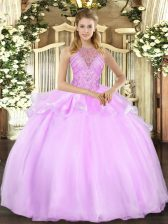 Latest Lilac Lace Up Halter Top Beading Quinceanera Dresses Organza Sleeveless