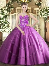 Lilac Tulle Lace Up Sweet 16 Dresses Sleeveless Floor Length Beading and Appliques