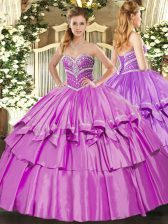 Wonderful Sweetheart Sleeveless Quinceanera Gown Floor Length Beading and Ruffled Layers Lilac Organza and Taffeta