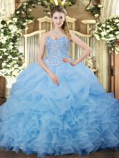 Sweetheart Sleeveless Quinceanera Dresses Floor Length Beading and Ruffles and Pick Ups Aqua Blue Organza