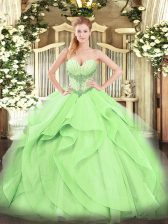 Yellow Green Ball Gowns Sweetheart Sleeveless Tulle Floor Length Lace Up Beading and Ruffles Ball Gown Prom Dress