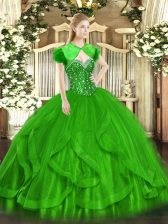 Floor Length Green Sweet 16 Dress Tulle Sleeveless Beading and Ruffles