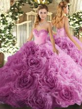 Sweetheart Sleeveless 15 Quinceanera Dress Floor Length Beading Rose Pink Fabric With Rolling Flowers