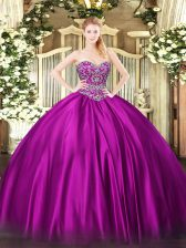 Flirting Fuchsia Lace Up Sweet 16 Dresses Beading Sleeveless Floor Length