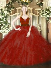 Exquisite Straps Sleeveless Zipper Sweet 16 Dress Wine Red Tulle